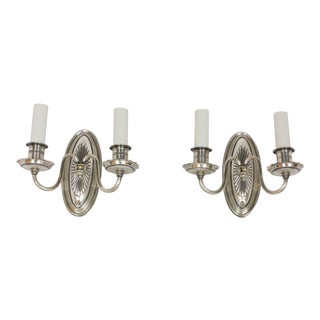 Antique Silver Plated Sconces - a Pair For Sale
