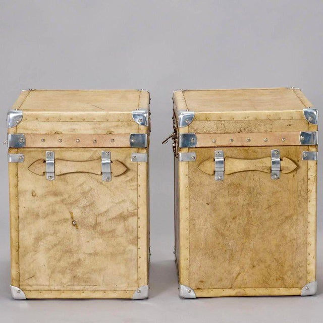 Pair of Reconditioned English Vellum and Chrome Trunks - Image 9 of 9