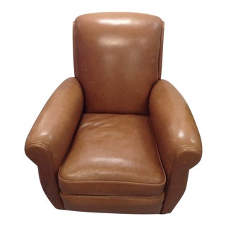 French Art Deco Style Leather Upholstered Club Chair For Sale