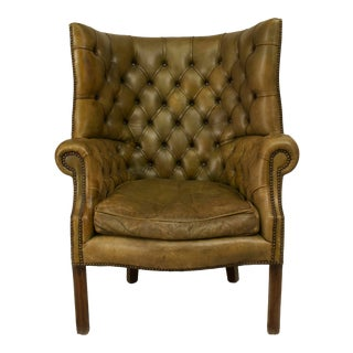 English Georgian Green Leather Wing Chair For Sale