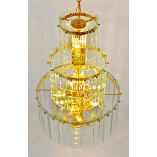 Mid Century 5 Tier Brass and Etched Glass Prism Chandelier Preview