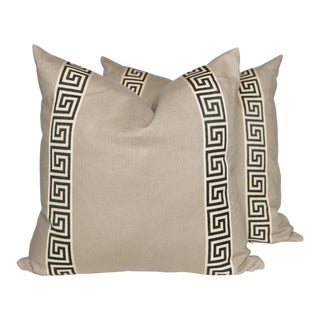 Cream Linen Black and Ivory Greek Key Pillows, a Pair For Sale