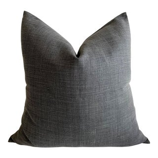 Stone Washed Faded Black Belgian Linen Accent Pillow For Sale
