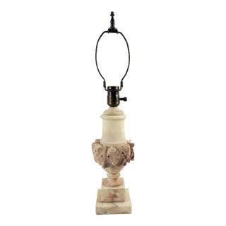 Vintage Highly Carved Alabaster Table Lamp For Sale