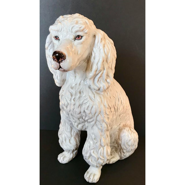 Vintage Italian Mid-Century Ceramic Poodle Figurine For Sale - Image 4 of 9