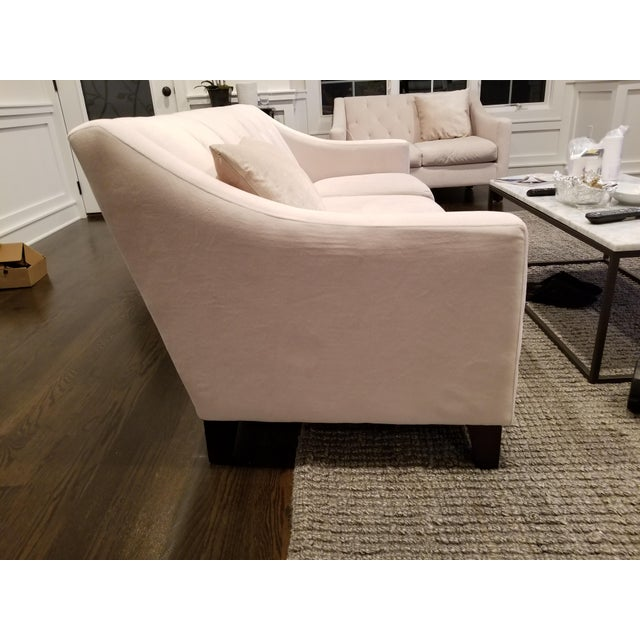 Macy's Chloe Velvet Tufted Sofa in Ivory For Sale - Image 4 of 5