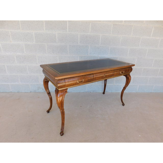 """Baker Burl Walnut French Louis XV Style Tooled Leather Top Writing Desk 52""""w For Sale - Image 13 of 13"""