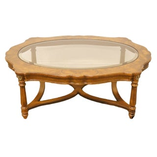 Gordon's Furniture Italian Provincial Burled Wood Glass-Topped Coffee Table For Sale