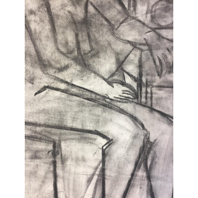 1950's Cubist Charcoal Female Nude Henry Woon Bay Area Artist For Sale - Image 4 of 8