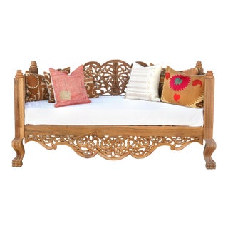 Raj Anglo Indian Carved Daybed For Sale