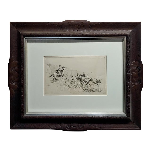 Edward Borein -Cowboy Rounding Up Cattle -1930s Etching For Sale