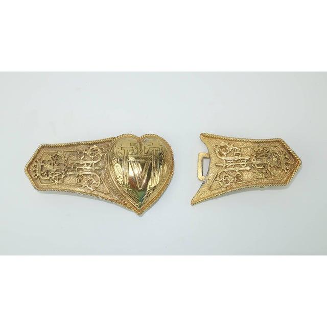 Metal Vintage Accessocraft Nyc Ornate Heart Buckle & Belt For Sale - Image 7 of 11