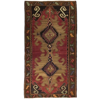 Dramatic Double Medallion Mid-Century Turkish Kilim Rug | 5'8 X 12'6 For Sale