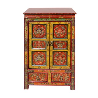 Orange Red Yellow Tibetan Floral End Table Nightstand Cabinet