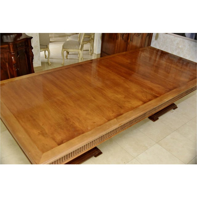 Contemporary Contemporary Double Pedestal Banquet-Sized Extension Dining Table For Sale - Image 3 of 10