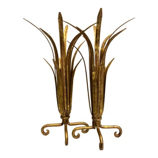 Art Deco Gold and Bronze Palm Frond Vessels, a Pair