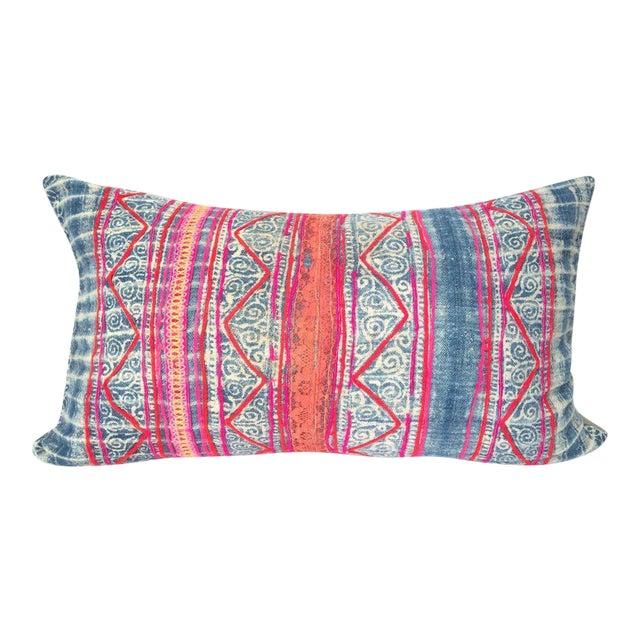 Indigo Hmong Batik Pillow For Sale