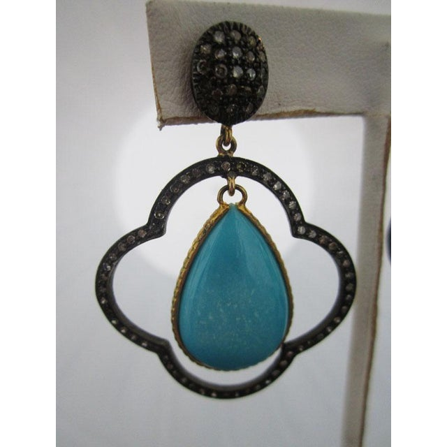 Contemporary Moroccan Inspired Sterling Silver Diamond and Turquoise Earrings For Sale - Image 3 of 5