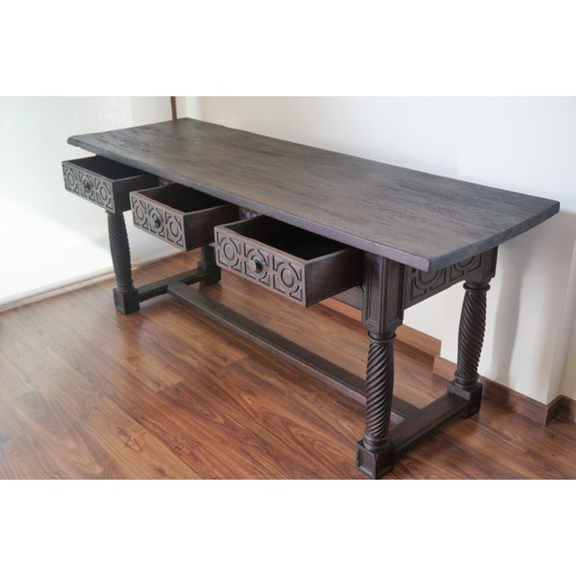 Baroque 18th Spanish Baroque Carved Walnut Refectory Table For Sale - Image 3 of 10