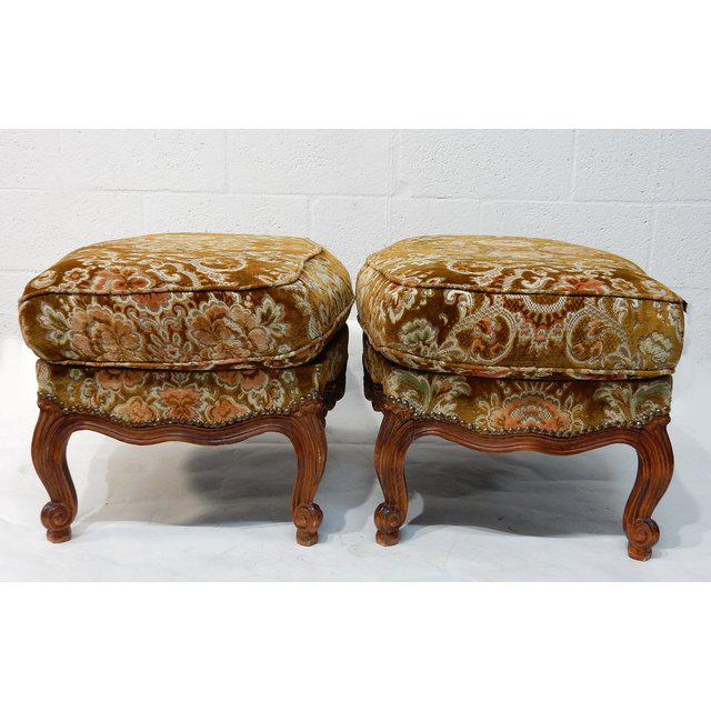 Early 21st Century Contemporary Traditional French Ottomans With Rich Fabric Upholstery - a Pair For Sale - Image 5 of 11