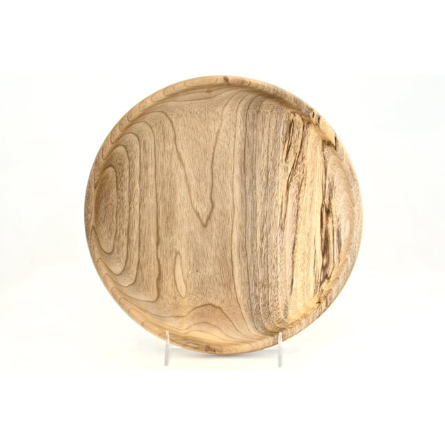 Wood Round Hand Turned Myrtle Wood Tray For Sale - Image 7 of 7