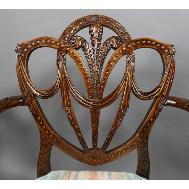 Pair of Edwardian Finely Carved Mahogany Armchairs For Sale - Image 5 of 10
