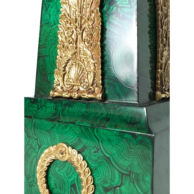 Green Maitland Smith Faux Malachite and Brass Finish Obelisk Candelabras - a Pair For Sale - Image 8 of 11