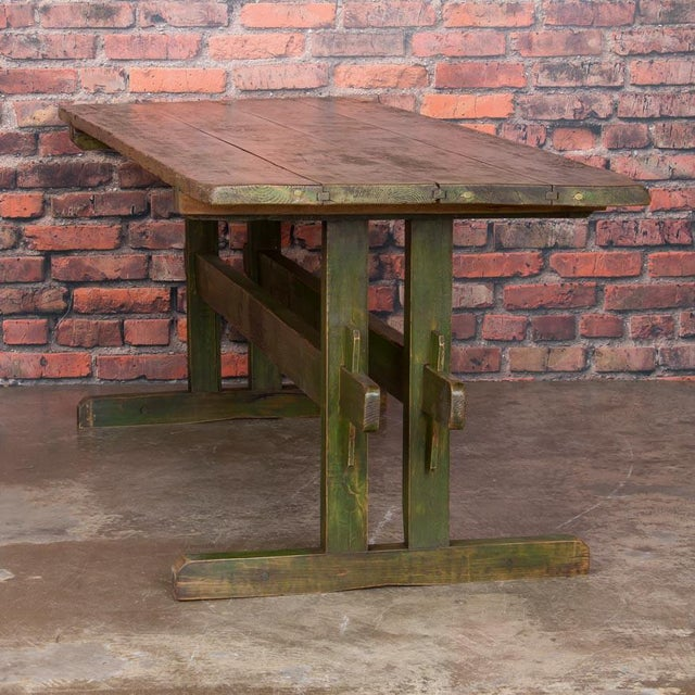 Country 19th Century Rustic Green Painted Harvest/Farm Trestle Table For Sale - Image 3 of 9