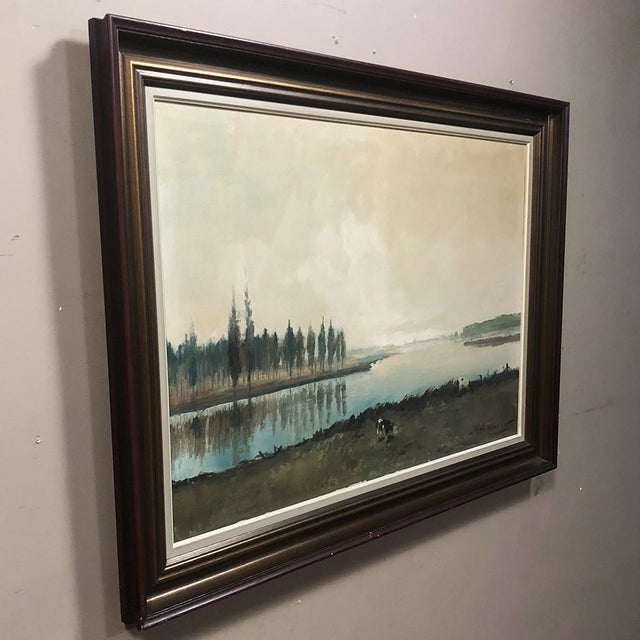 Antique Framed Oil Painting on Canvas by Pauwels For Sale In Baton Rouge - Image 6 of 12