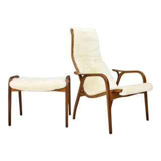 Nice Lamino Lounge Chair With Stool by Yngve Ekström for Swedese 1956 For Sale