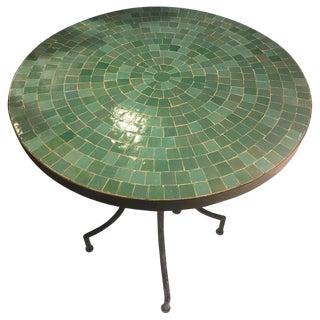 Moroccan Micro Mosaic Turquoise Iron Table For Sale