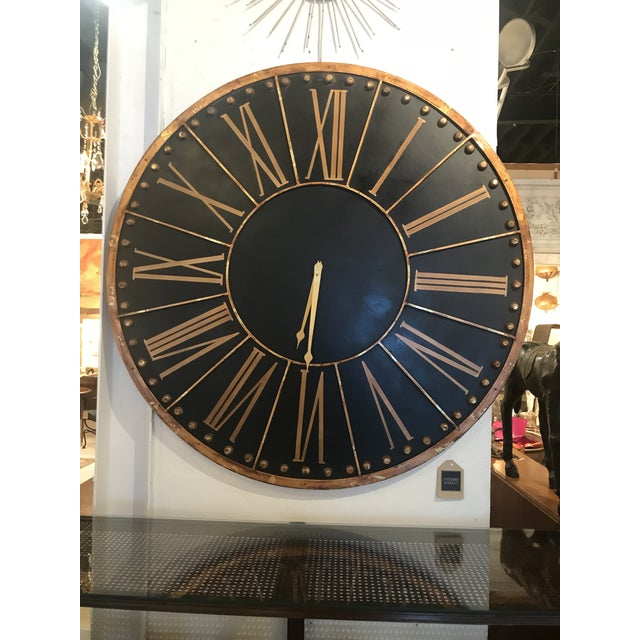 Copper Large Black and Copper Clock For Sale - Image 8 of 8