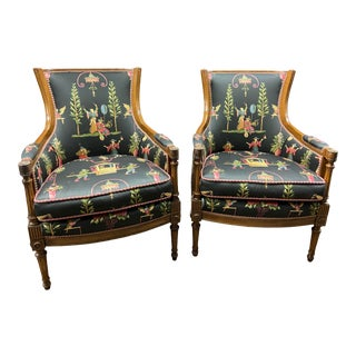 Vintage Louis XVI Style Bergère Chairs - a Pair For Sale