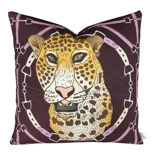 "Cheetah Plaid in Eggplant 22"" Pillow For Sale"