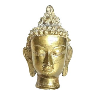 1970s Boho Chic Brass Buddha Head For Sale