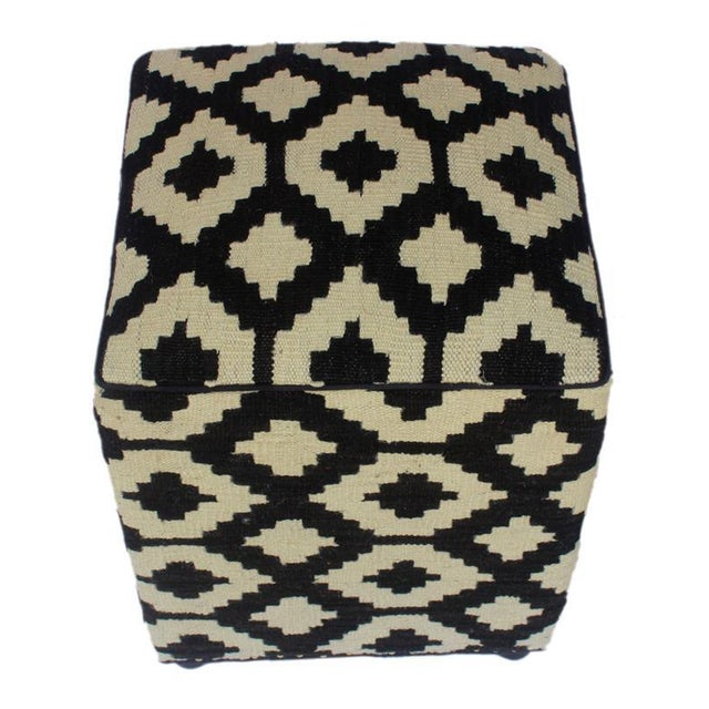 Asian Arshs Domenic Black/Ivory Kilim Upholstered Handmade Ottoman For Sale - Image 3 of 7
