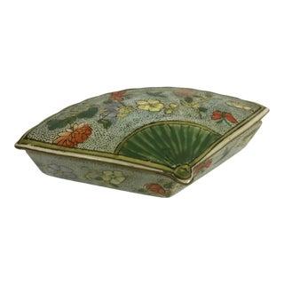 Chinoiserie Fan-Shaped Trinket Box For Sale