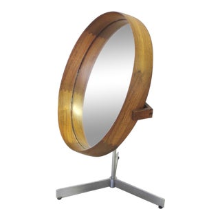 Uno and Otto Kristiansson Rosewood with Satin Chrome Base Table Top Mirror For Sale