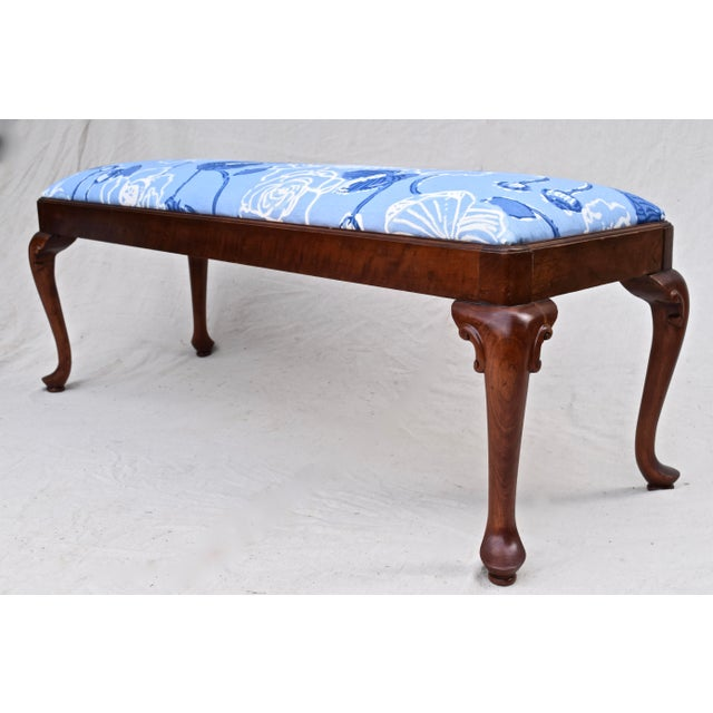 An exquisite Queen Anne-style solid cherrywood bench by Century Furniture. Newly upholstered in blue-and-white lotus...