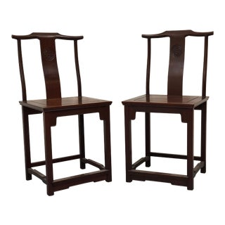 Antique Chinese Yoke Back Desk Chairs - a Pair