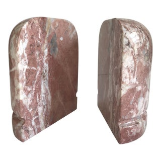 Pair of Vintage Pink Marble Style Stone Bookends For Sale