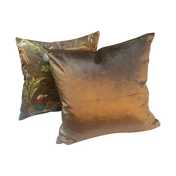 English Pheasant Paisley Pillows - A Pair For Sale - Image 4 of 4