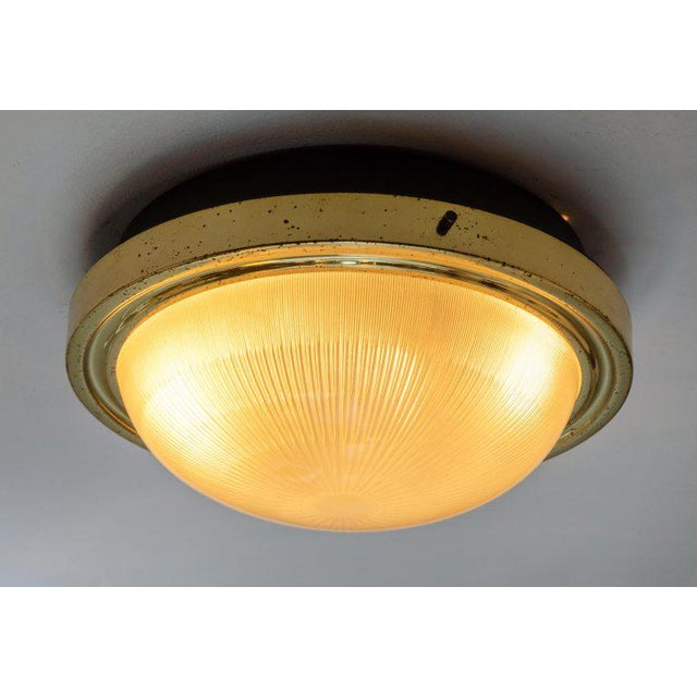 Brass 1960s Sergio Mazza Brass & Glass Wall or Ceiling Lights for Artemide - A Pair For Sale - Image 8 of 13