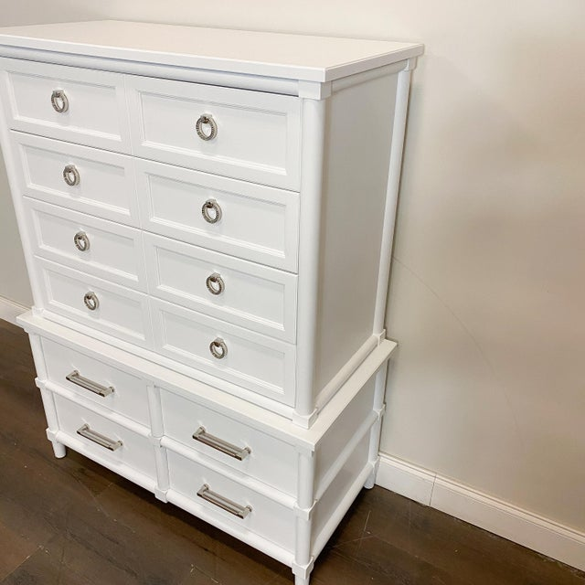 Paint 1960s Thomasville White Lacquer Chest of Drawers For Sale - Image 7 of 8