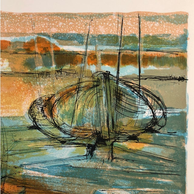 1960s Jean Camberoque French Beach Lithograph For Sale - Image 9 of 12