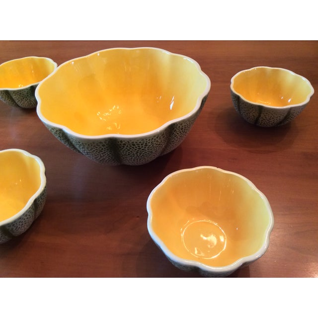 1960s 1960s Majolica Cantelope Salad Bowls - Set of 5 For Sale - Image 5 of 12