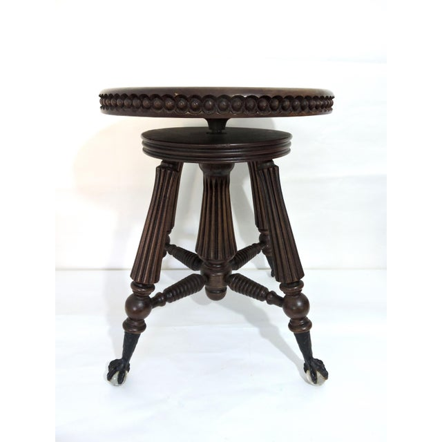 Tonk, Chicago & New York Mahogany Piano Stool With Ball & Claw Feet For Sale In Tampa - Image 6 of 7