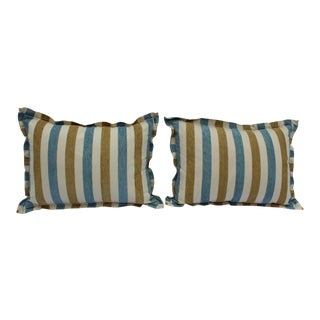 Contemporary Striped Silk DownContemporary Striped Silk Down Pillows - a Pair For Sale