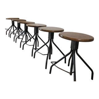 Modern Rejuvention Industrial Stools in Cracked Oak- Set of 6 For Sale