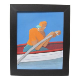 Precisionist Style Modern Rowing Man Signed Oil Painting For Sale